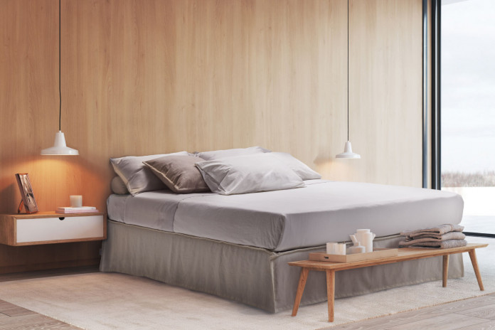 Space saving platform bed with valance and no headboard