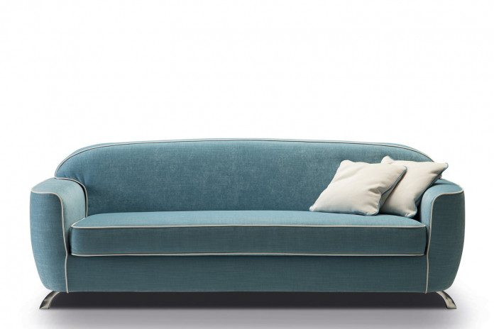 Vintage style 2-3 seater sofa with curved back and a wide single-cushion seat