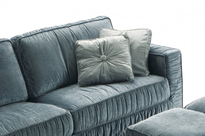 Square box cushions with plain, ruffled or pleated covers