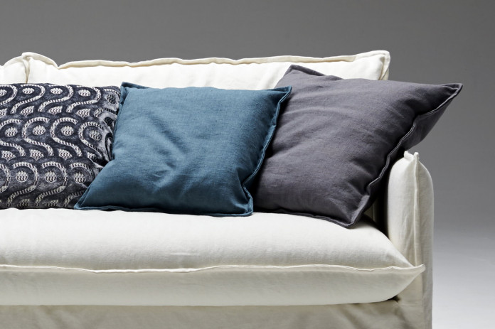 Clarke square cushions with inverted seam edges