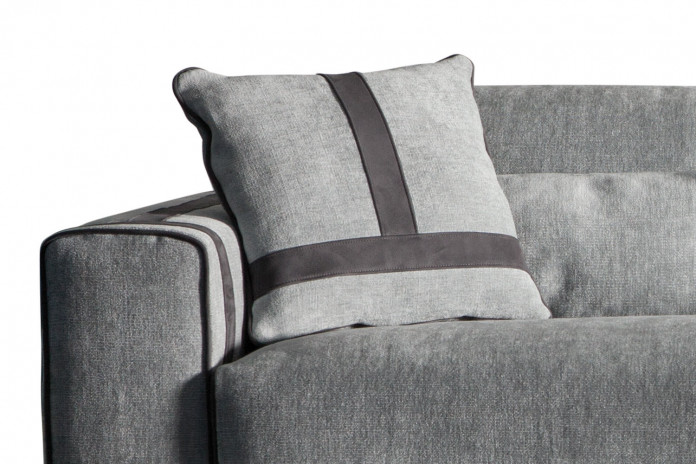 Square scatter cushion with decorative tape trims