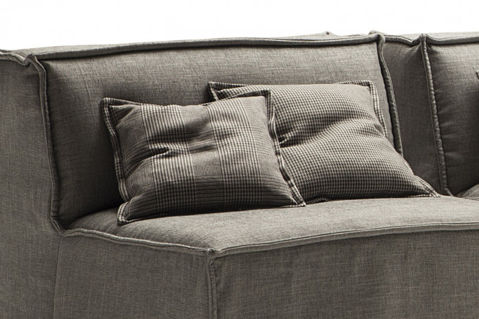 Squared fabric or faux leather scatter cushions
