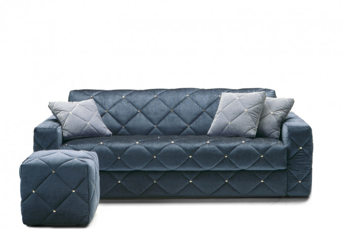 Modern 2-3 seater diamond tufted sofa detailed with metal buttons, or buttonless
