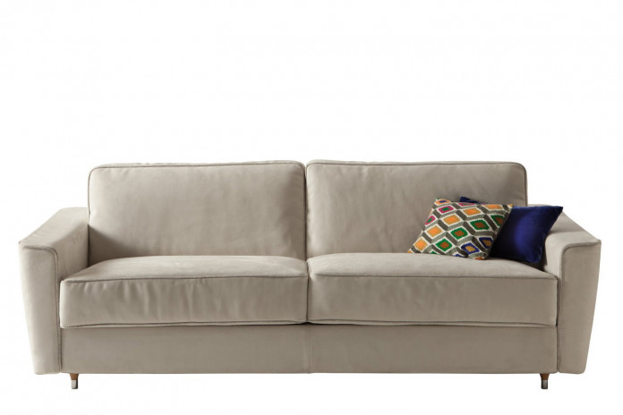 Mid century modern 2-3 seater sofa bed with tapered legs and flared arms