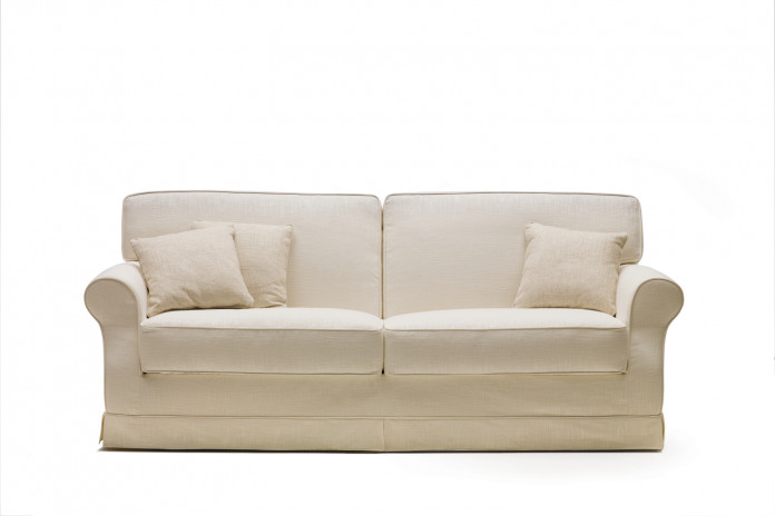 Feather-filled rolled arm 3 seater sofa upholstered in fabric