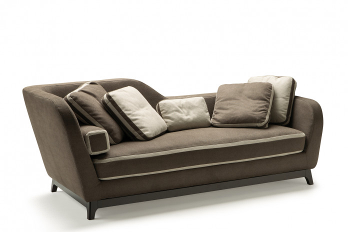 Asymmetrical 2-3 seater designer sofa with one-piece feather and foam seat