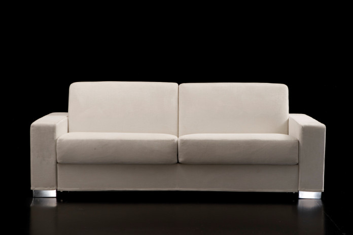 2-seater square arm sofa with chrome, wooden or leather block feet