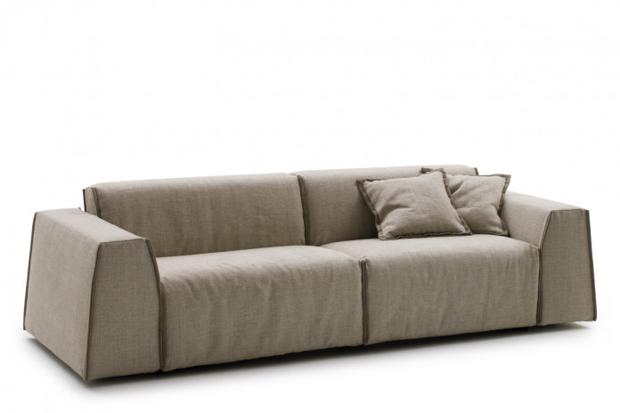 Contemporary low 2-3 seater sofa bed with wedge arms and stylish low back