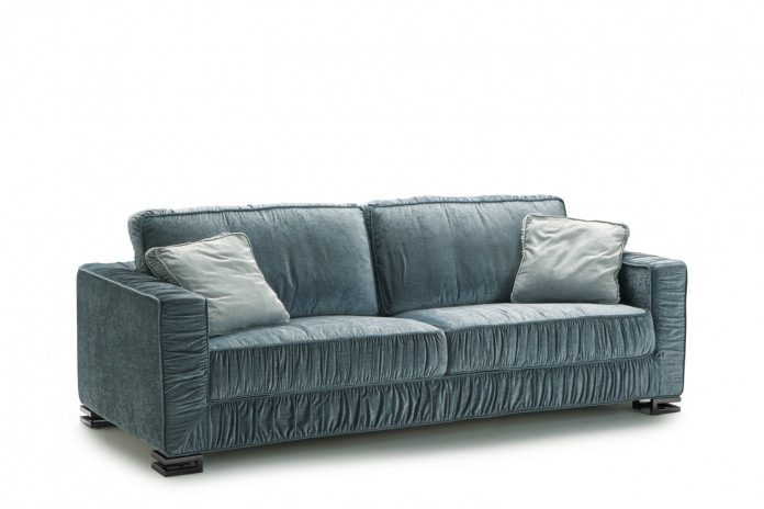 Stylish pleated 2-3 seater sofa bed, with feather-wrapped foam cushions