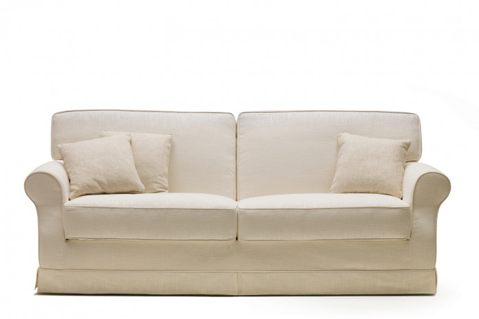 Traditional 3 seater sofa bed with kick pleat skirt and sock arms