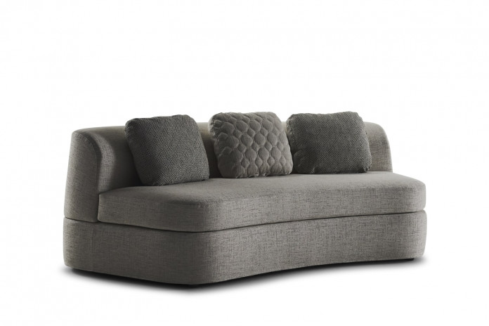Curved sofa bed with no arms and low back