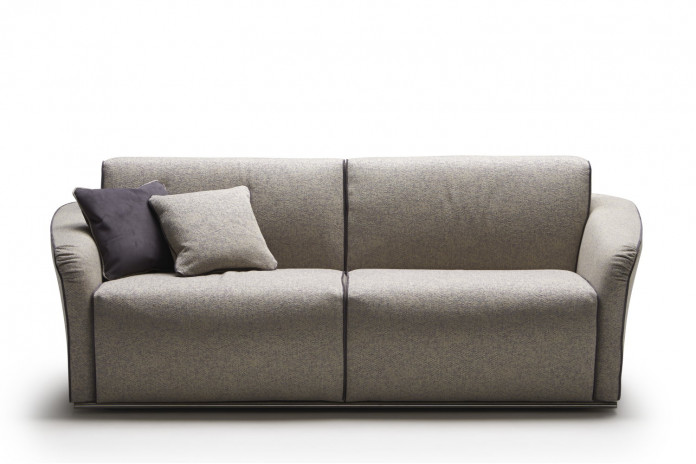 Flared arm 2-3 seater sofa bed without loose cushions