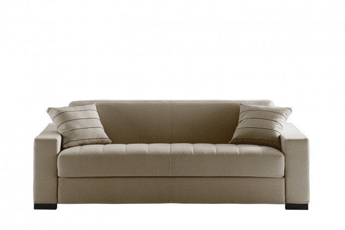 Tufted bench seat sofa with one-cushion seat and back, wide squared arms and low block feet