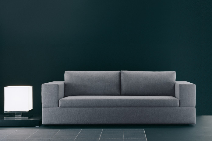Minimalist 2-3 seater sofa bed with back shelf, single-cushion seat and wide square arms