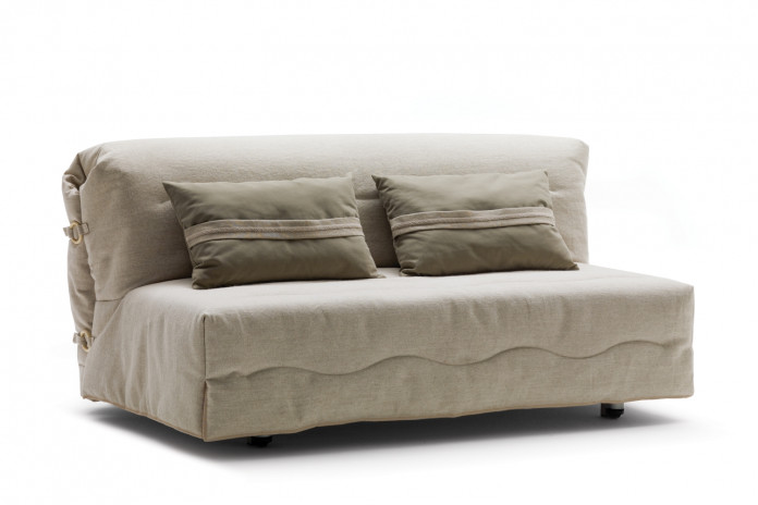 Compact summer house sofa bed with no arms, for small spaces