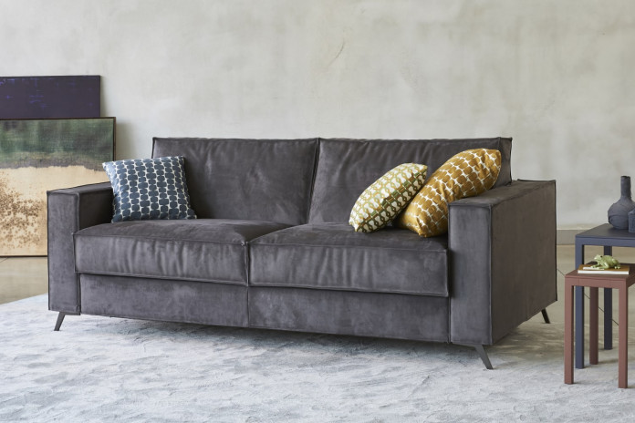 2-3 seater sofa bed with metal legs, converts into single, double or king size bed