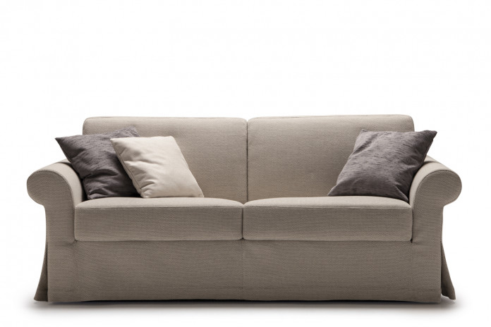 Rolled arm skirted 2-3 seater sofa with kick pleat skirt in fabric, leather or faux leather
