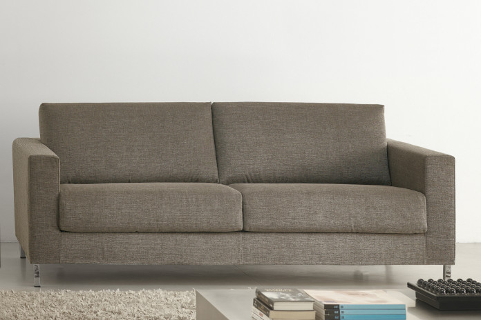2-3 seater sofa with chrome legs, narrow squared arms and resilient foam filled cushions