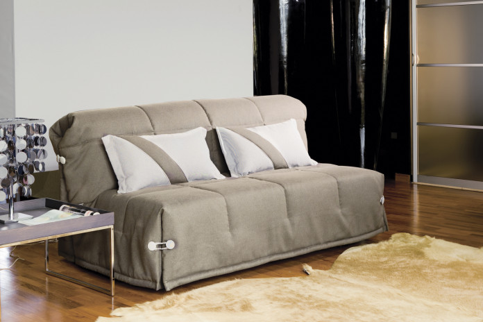 Compact armless 2-seater sofa bed, turns into a single, double or king size bed