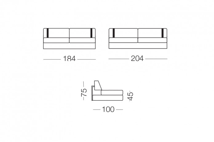 The sofa can be completed with a matching headrest.