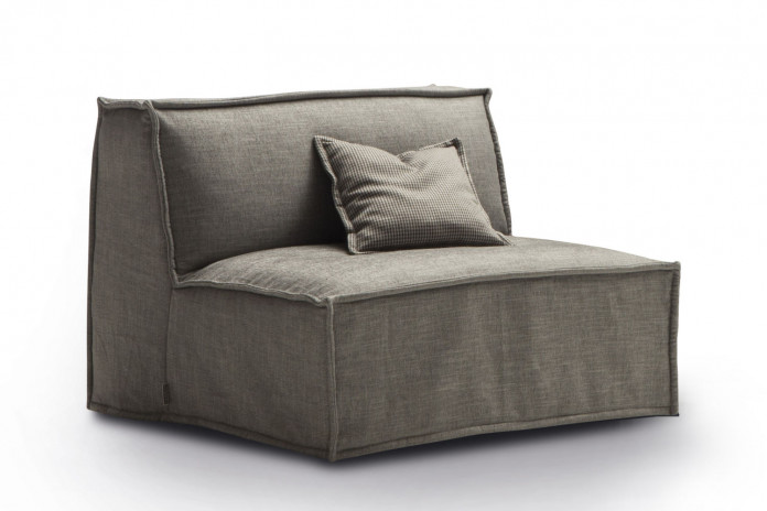 Armless chair bed with removable slipcover in fabric or faux leather