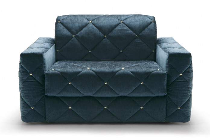 Diamond tufted pull out chair bed detailed with studs or in a buttonless design