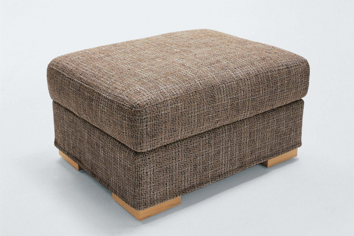 Rectangular footstool for sofas with low block legs in wood, chrome metal or leather