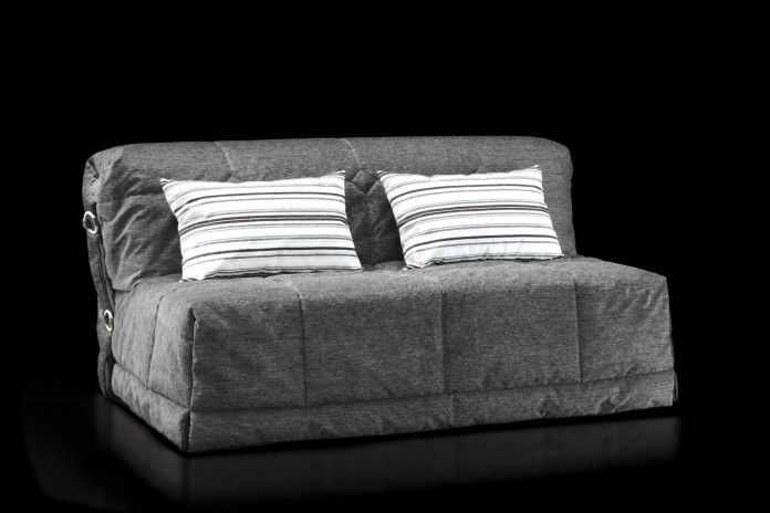 A-frame sofa bed with no arms, with fabric slipcover and 15 cm high resilient foam mattress