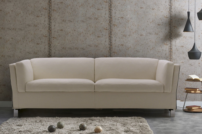 Stylish 2-3 seater sofa bed with shelter arms, turns into single, double or king size bed