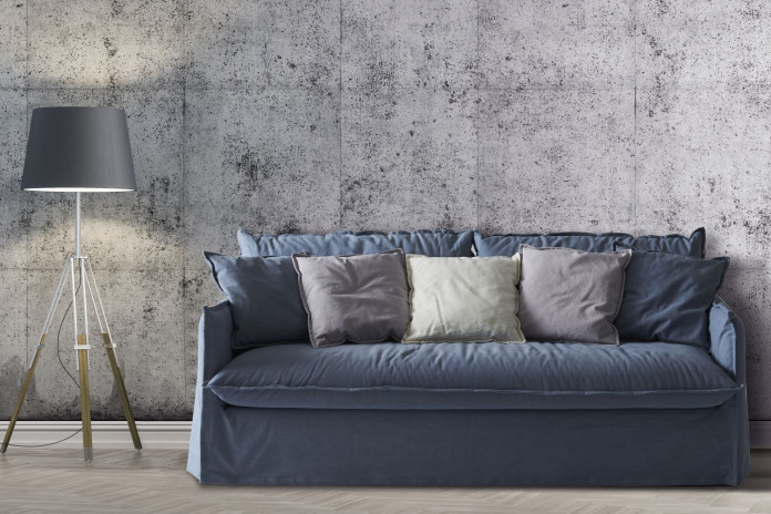 Contemporary 2-3 seater skirted sofa with deep seat and narrow arms