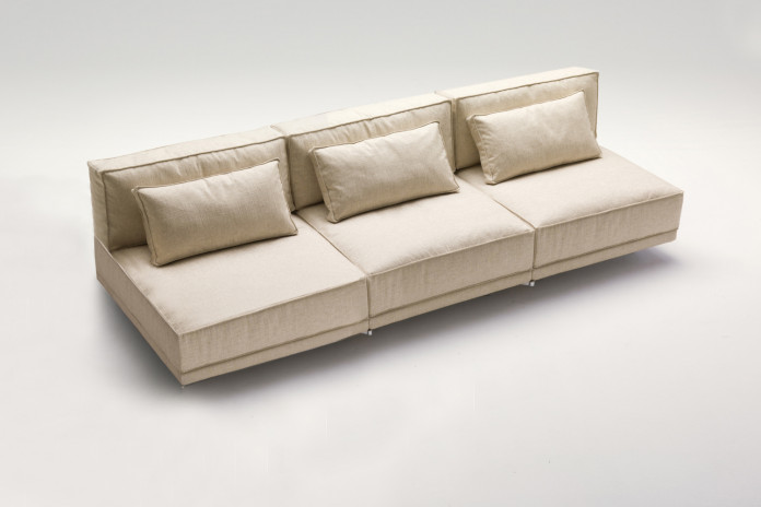 High end minimalist armless 2-3 seater sofa, with feather-wrapped foam seat and back cushions
