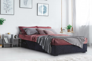 Upholstered ottoman bed frame without headboard, detailed with diamond stitching