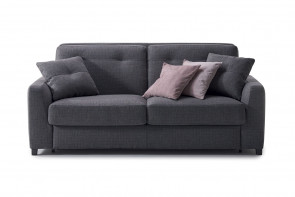 Transitional 2-3 seater sofa with back cushions with buttonless single line tufting