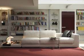 Contemporary designer feather sofa with adjustable headrests