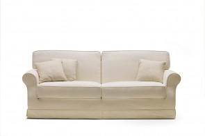 Feather-filled rolled arm 2-3 seater sofa upholstered in fabric