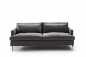 High legged 2-3 seater feather and foam sofa with recessed narrow arms
