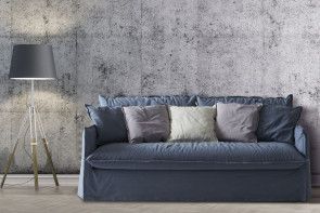 Slipcovered 2-3 seater sofa bed with skirt and flanged cushions in fabric, leather, faux leather