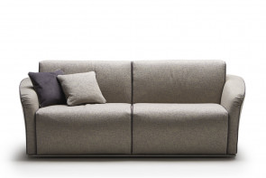 Compact 2-3 seater sofa with flared English arms with pleated detailing and piped edges
