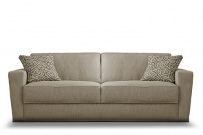Modern flared arm 2-3 seater sofa with feather-wrapped foam box cushions