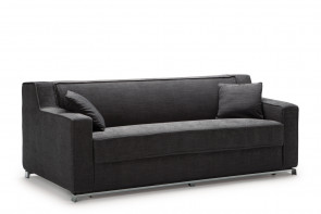Modern single cushion 2-3 seater sofa, with slope arms and chrome base with low legs