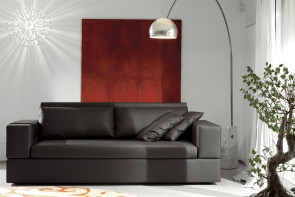 2-3 seater sofa with shelf behind, available in fabric, leather, faux leather