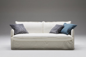 Loose cover 2-3 seater sofa with skirt, in fabric, faux leather or leather