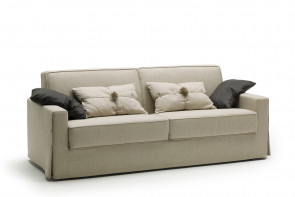 2-3 seater fabric sofa with skirted base detailed with buttons