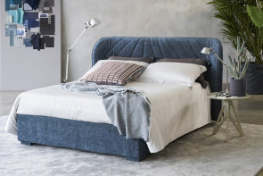 Contemporary winged headboard bed upholstered in fabric, leather, faux leather
