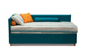 Upholstered single bed with trundle or pull out drawers
