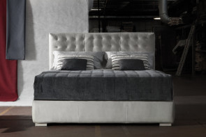 Tall tufted headboard bed available as single, double, king and super king size