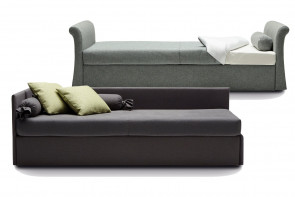 Upholstered single bed with trundle, drawers or storage