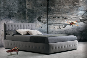 Contemporary upholstered bed with buttonless tufted headboard and frame