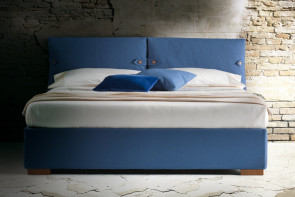 Pillow headboard bed with cushioned back and upholstered frame