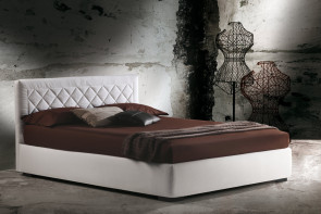 Platform or ottoman upholstered bed with diamond tufted headboard